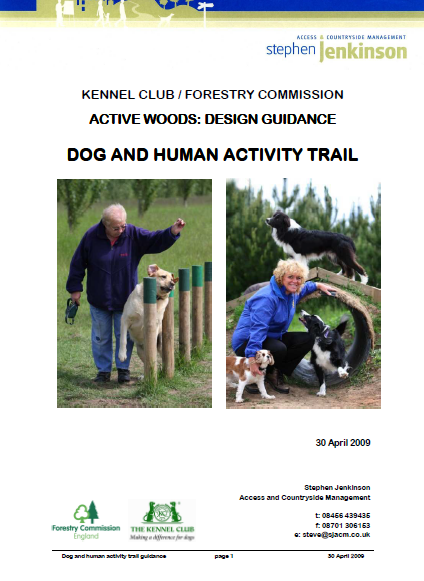 Front cover of document with dogs and people enjoying activity equipment