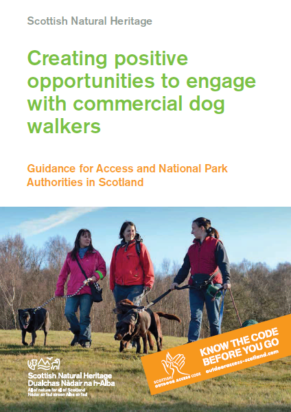 Cover of summary report with image of 3 dog walkers walking in countryside with dogs