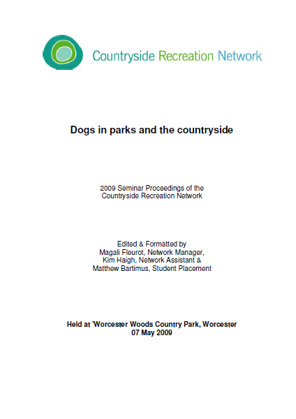 Dogs in parks and the countryside front cover