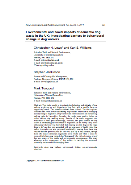 Front page of article in scientific journal, title and text