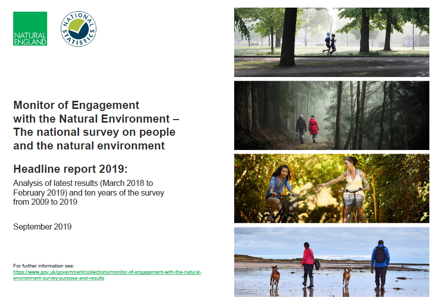 Front cover of report showing people enjoying a varity of outdoor places