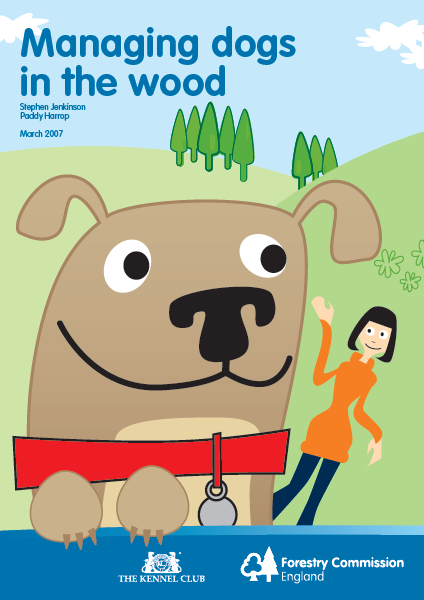 Cartoon-type image of dogs and person happy in wooded hills