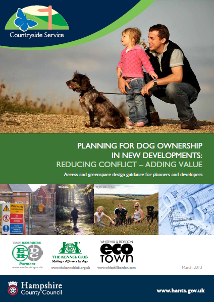 Document cover with images of people, dogs, housing and plans